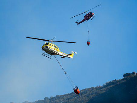 Fire Fighting Helicopters, Helicopter, Sky, Aircraft