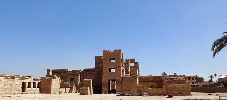 Egypt, Thebes, Luxor, Temple, Medinet-habu, Court
