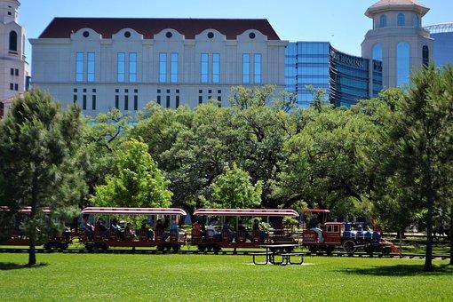 Houston, Texas, Herman National Park, Train, Trees
