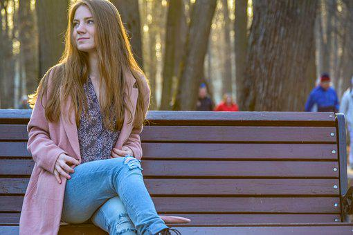 Woman, Outdoors, People, One, Portrait, Girl, Bench