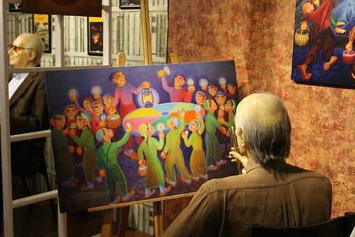 Folk, Adult, Women's, Inside, Painting, Child, Profile
