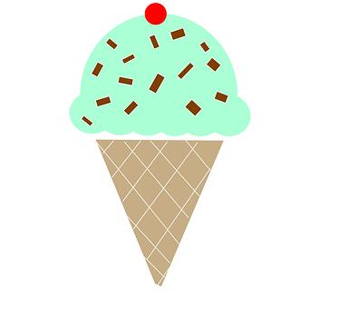 Ice Cream, Cone, Mint, Chocolate Chip, Dessert, Sweet