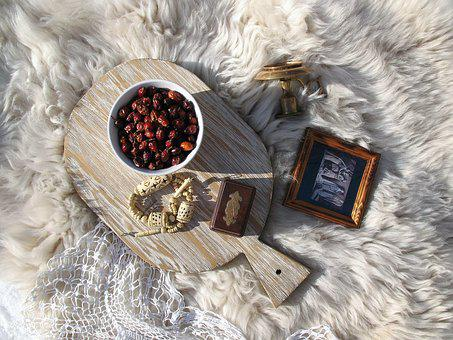 Background, Ornament, Wood, Rustic, Rose Hip, Fur