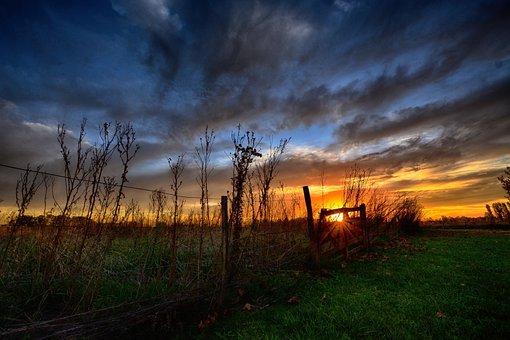 Sunset, Landscape, Nature, Sky, Rural, Field, Gate