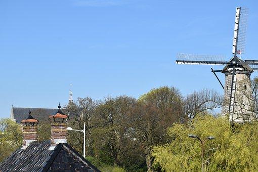 Wind Mill, Church, Mill, Netherlands, Mill Blades