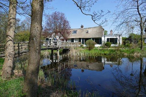 House, Home, Landscape, Nature, Bridge, Water