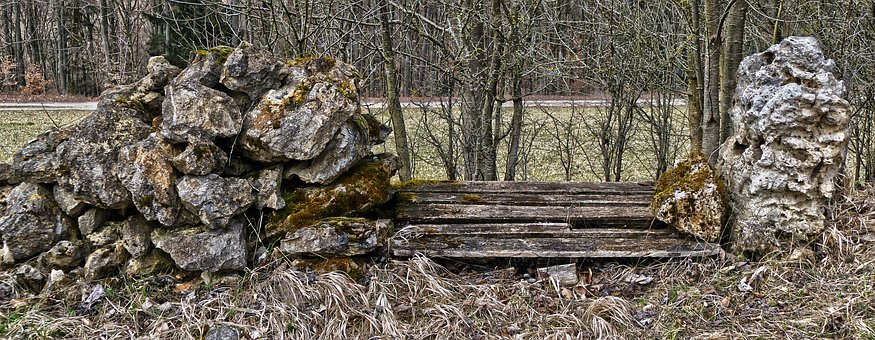 Rock, Stones, Wooden Bench, Old, Weathered