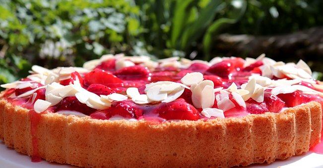 Strawberries, Cake, Food, Refreshment, Dessert