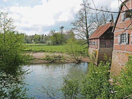 Spring In The Münsterland, Old Mill, Truss, River