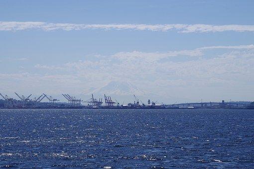 Water, Panoramic, Sea, Sky, Seattle, Harbor, Industry