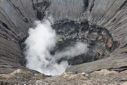 Smoking Crater, Crater, Active Volcano, Volcano, Smoke