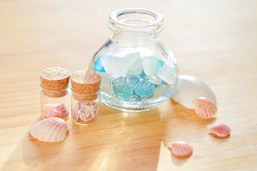 Glass, Bottle, Shell, Sea Glass, Marin, Clams, Summer