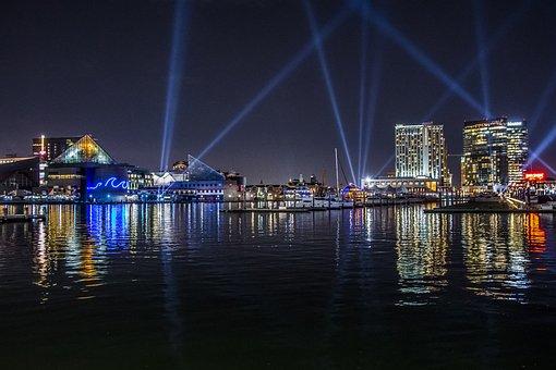 Water, City, Cityscape, Waterfront, River, Lightcity