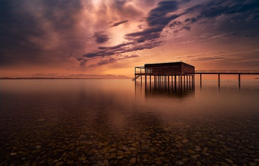 Sunset, Waters, Lake, Dusk, Nature, Lake Constance
