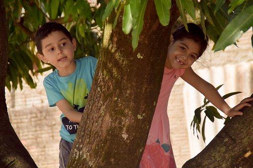 Child, Children, Boy, Girl, Nature, Tree, Outdoors
