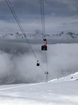 Ski Holiday, Gondola, Mountains, Ski Run, Ski, Clouds