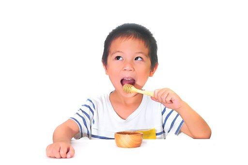 Honey, Eating, Child, Kid, Background, White, Food