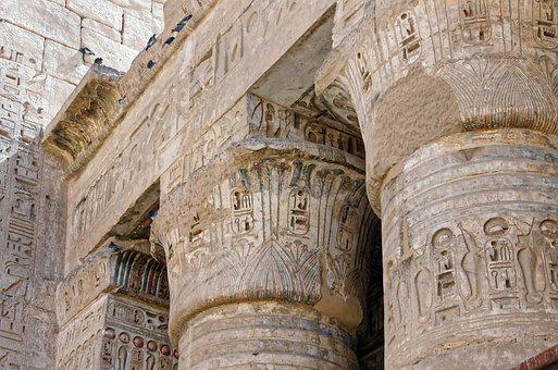 Egypt, Thebes, Medinet-habu, Temple, Columns