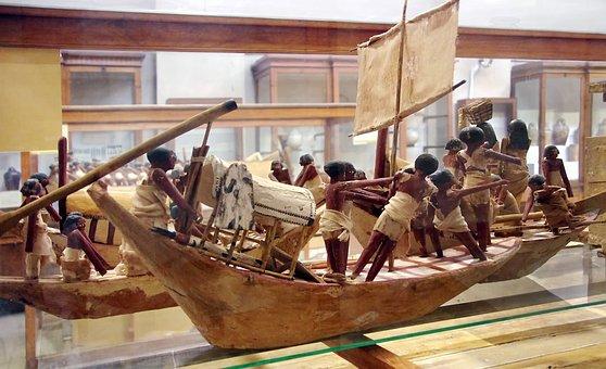 Egypt, Cairo, Museum, Figurines, Falls, Boat, Sailors