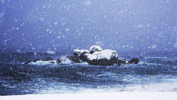 Sea, Winter, Nature, Snow, A Snowy Day, Gangneung