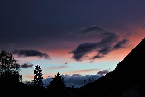Sunset, Panorama, Nature, Dawn, Sky, Clouds, Fir