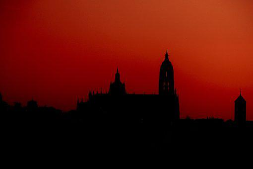 Silhouette, Cathedral, Segovia, Panoramic, Profile