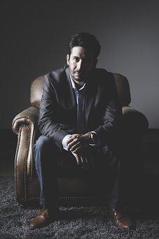 People, Man, Portrait, Adult, Sit, Chair, Looking, Dark