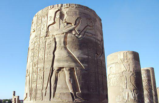 Egypt, Karnak, Column, Engraving, Pharaoh, Hieroglyphs
