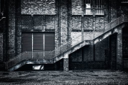 Stairs, Lost Places, Rise, Railing, Industrial Plant