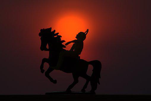 Native American, Native, Horse, Riding, Sunset