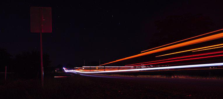 Speed, Road, Light Trails, Pavement, Night Photo