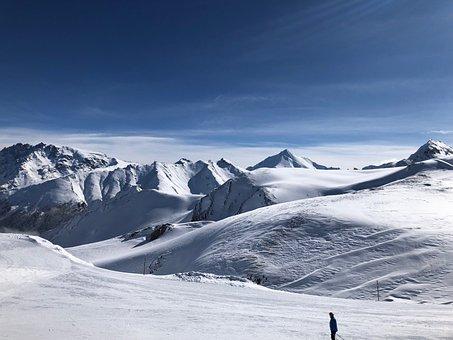 Ski, Ski Run, Mountains, Snow, View, Winter, Skiing