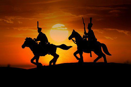 Riders, Soldiers, Horses, Sunset, Silhouettes, Army