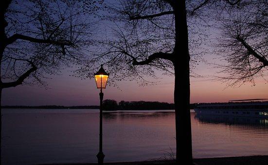 Sunset, Blue Hour, Lantern, Summer, Tree, Reflection