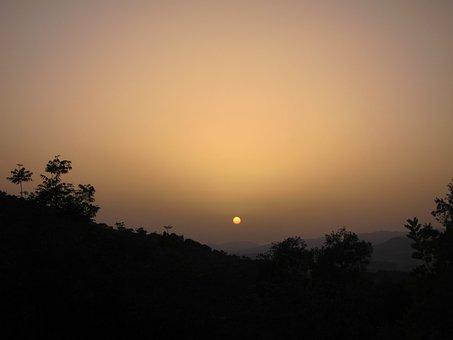 Sunset, Andalusia, Spain, Haze, Summer, Sun, Dusk