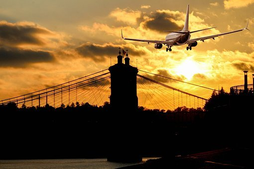 Silhouette, Aircraft, Landing, Transport System, Sunset