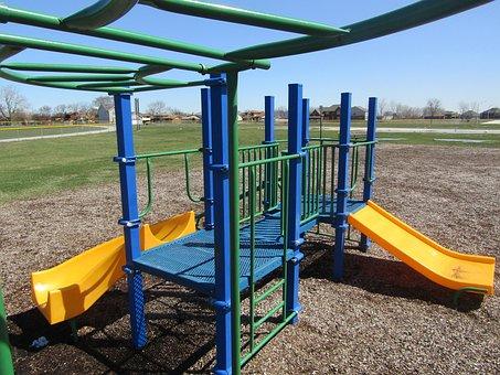 Playground, Slide, Outdoors, Summer, Swing, Sky, Park