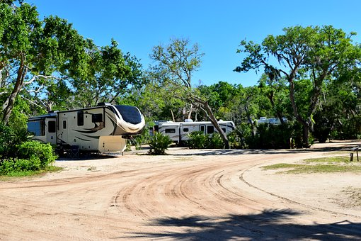 Campground, Camp Site, Camping, Landscape, Florida, Usa