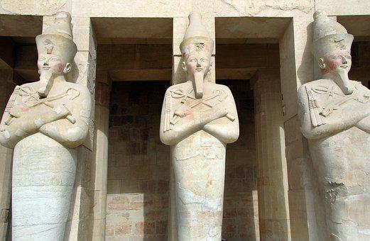Egypt, Valley Of The Queens, Hatshepsut, Temple Pillars