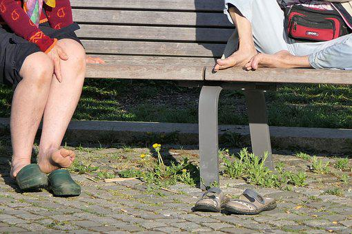 Human, Senior, Women, Feet, Spring, Sun, Park