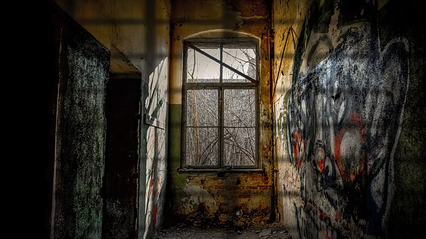 Old, Abandoned, Window, Darkness, Incidence Of Light