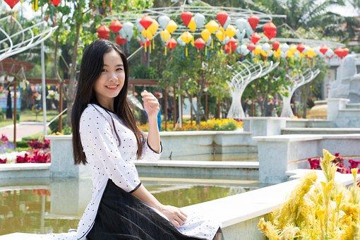 Cute, Sage, Long Coat, Girl, Asia, Beauty, Thanh Xuan