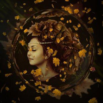 Autumn, Woman, Leaves, Nice, Face, Portrait, Brown