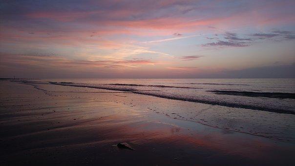 Sunset, Waters, Dusk, Dawn, Sea, North Sea, Evening