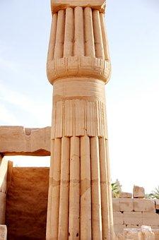 Egypt, Karnak, Column, Engraving, Column Papyriforme
