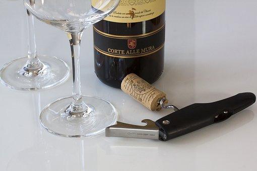 Wine, Wine Corks, Corkscrew, Drink, Glass, Food