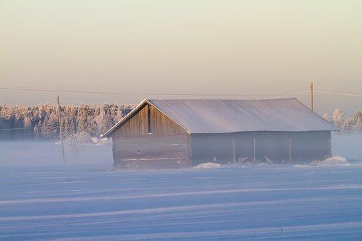 Aurora, Nature, Winter, Snow, Sky, Fog, House, Utu