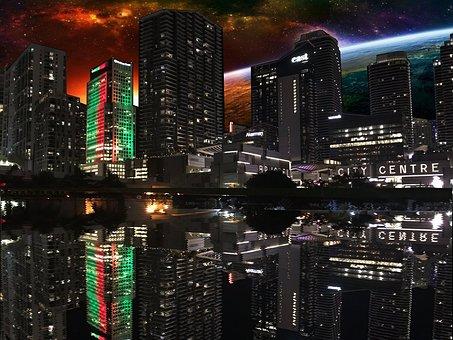 Skyscraper, City, Cityscape, Illuminated, Downtown