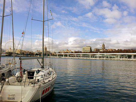 Malaga, Port, Barca, Body Of Water, Sea, Yacht, Travel