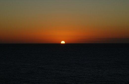 Sunset, Sun, Sea, Water, Orange, Colorful Sunset